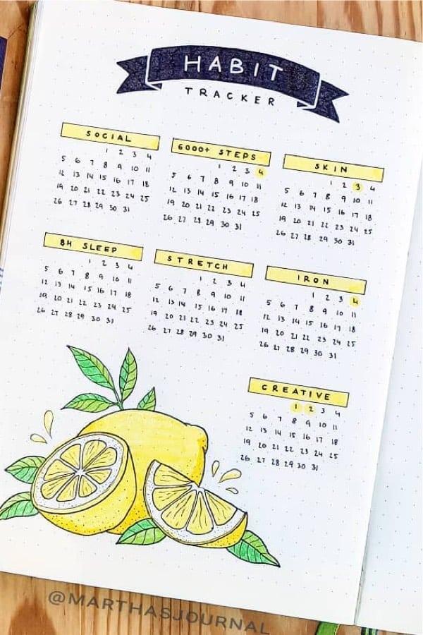habit tracker inspiration with lemon doodles