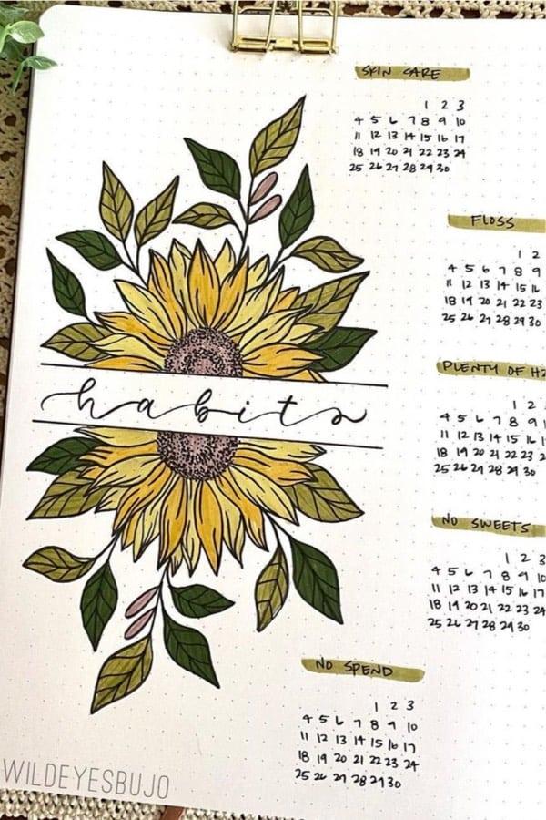 bujo habit spread with sunflower decoration