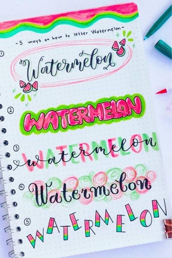 best header ideas for watermelon bujo theme