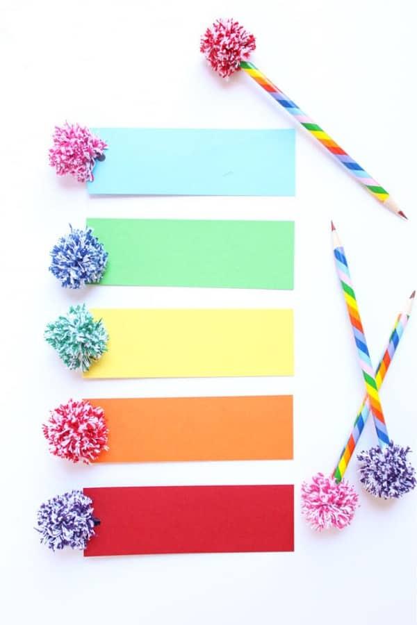 creatvie bookmark craft with yarn poms