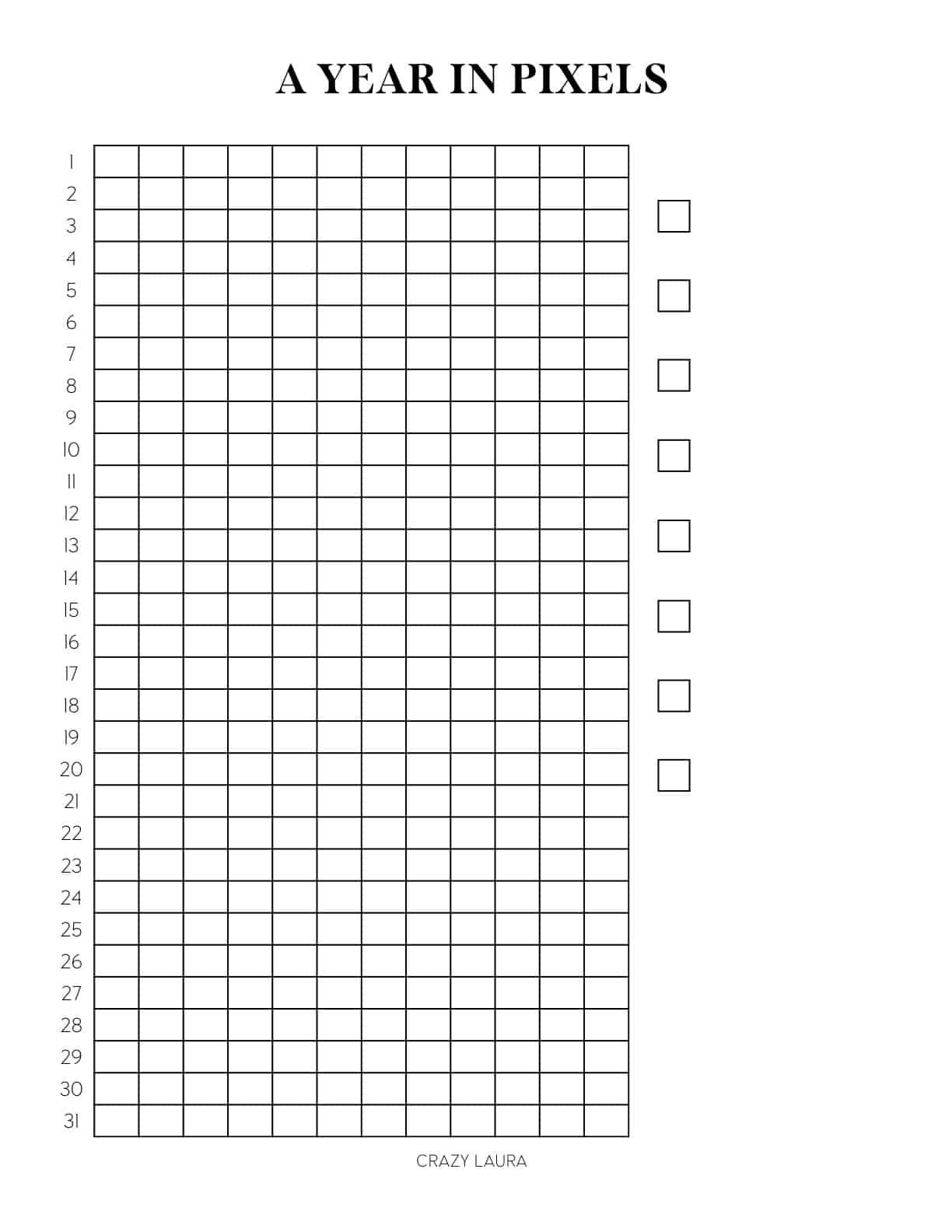 year in pixels vertical printable