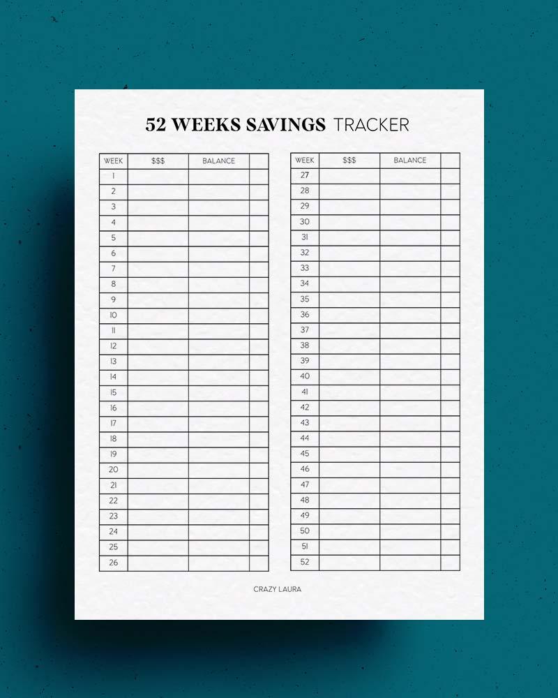 year of savings printable tracker