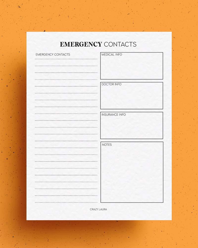 emergency contact printable