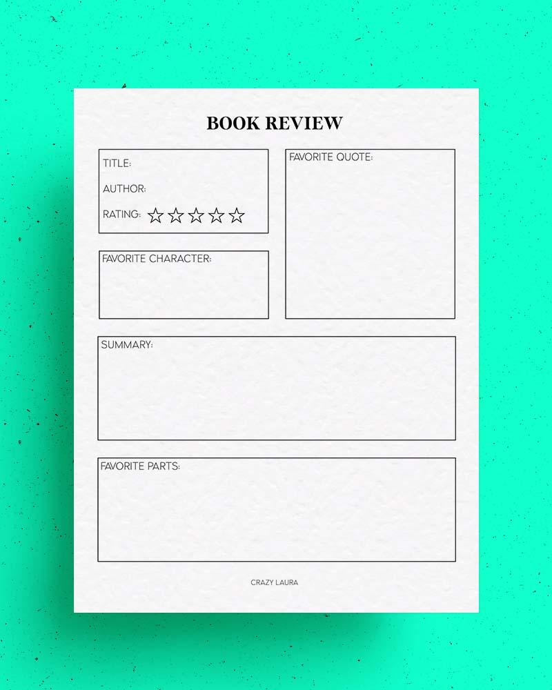 printable book review pdf