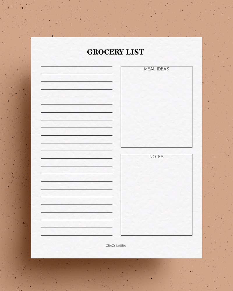blank grocery list pdf sheets