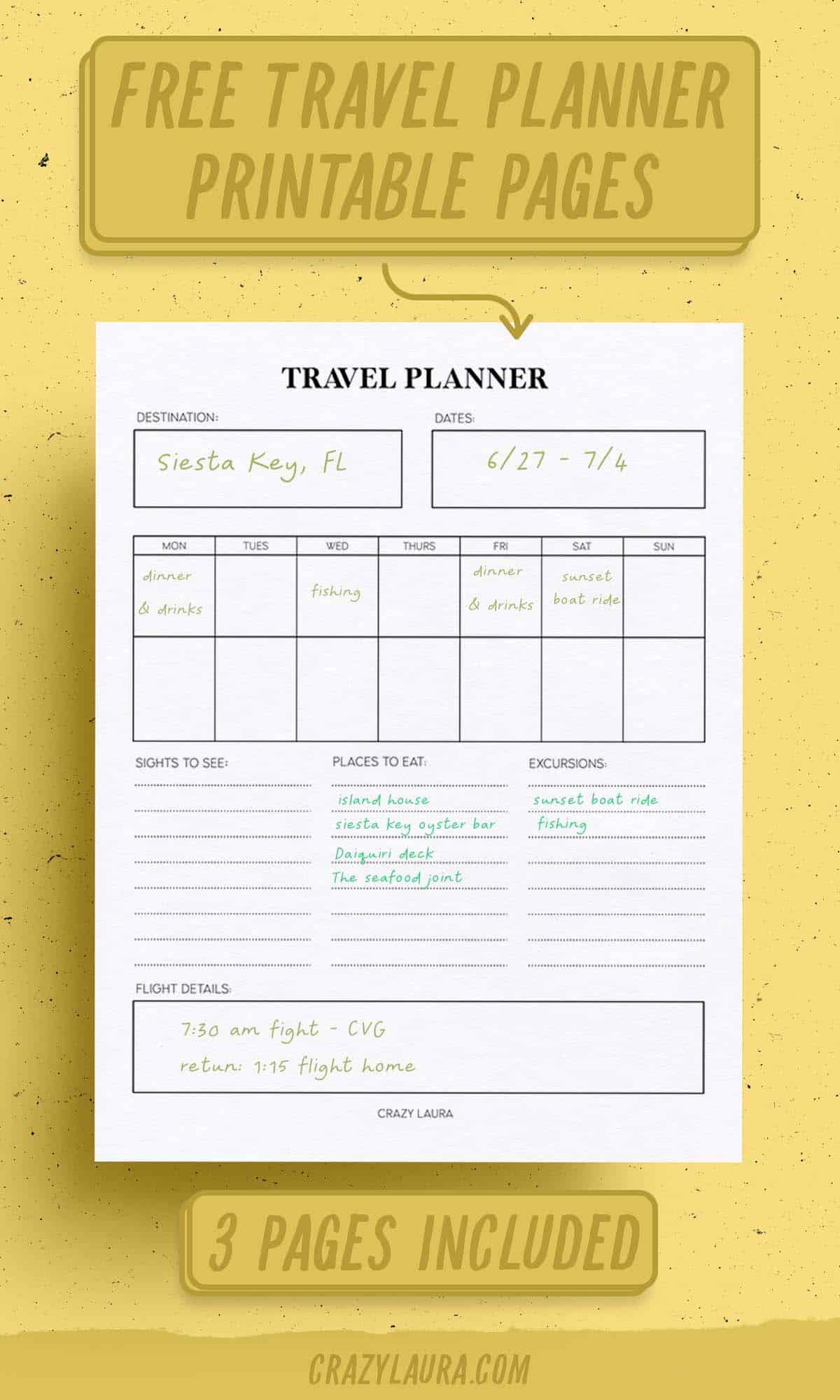 free travel planner printable inserts
