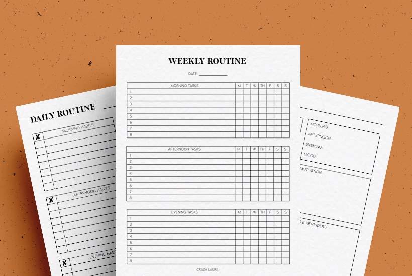 free printable routine trackers