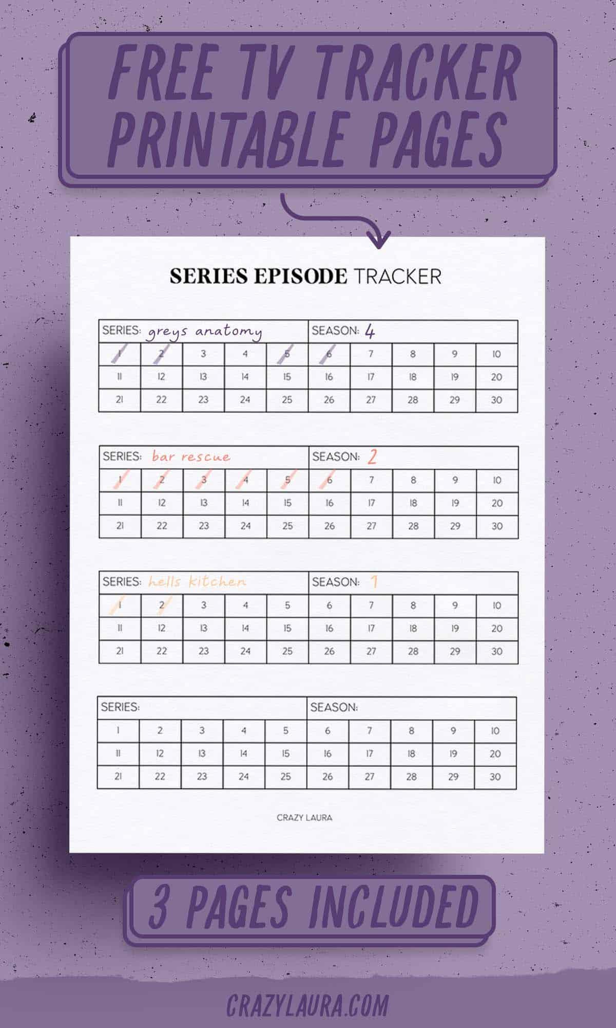 free tv printable tracker