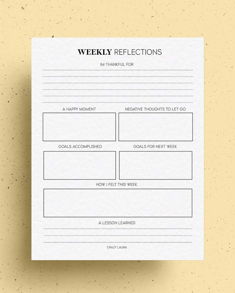 free weekly printable pdf