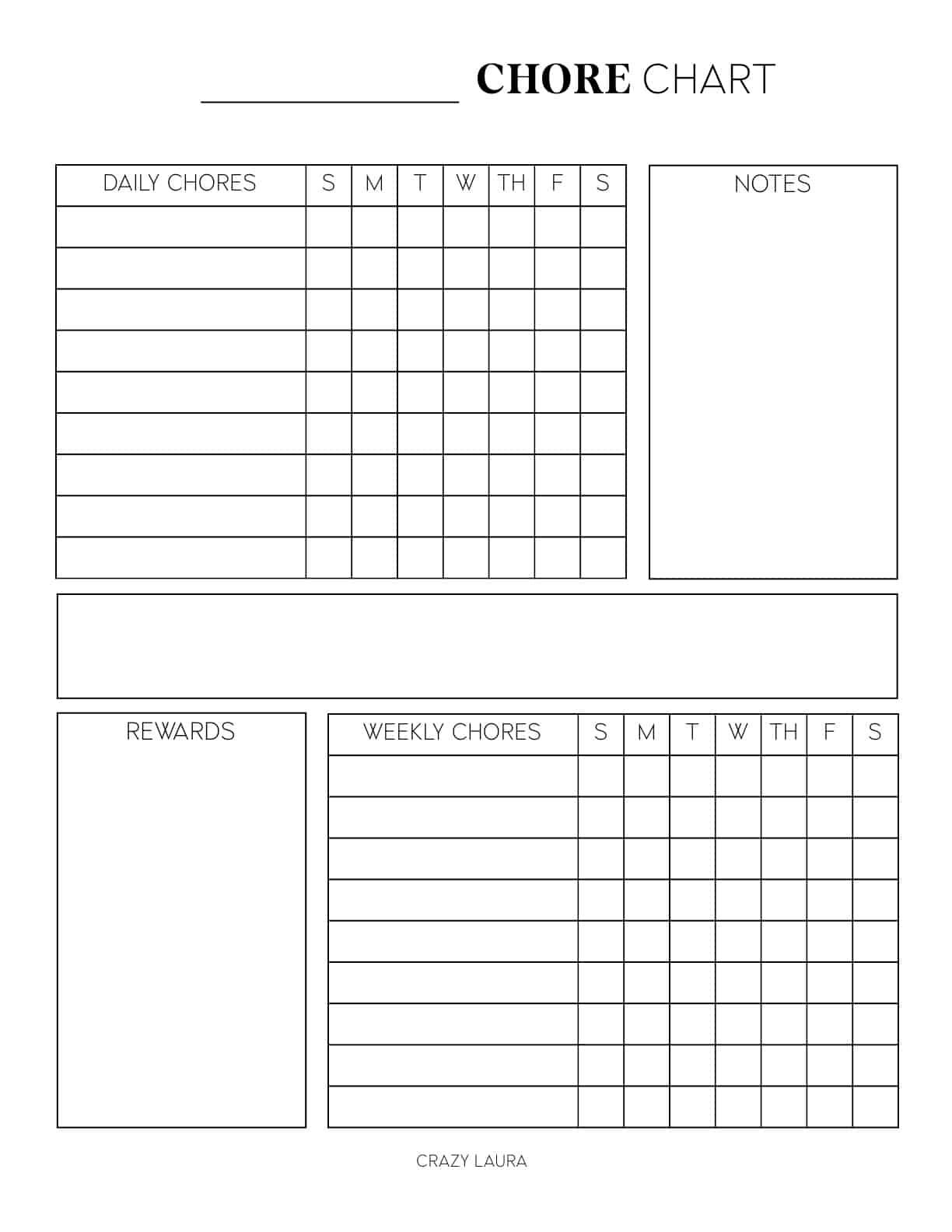 blank kids chore charts