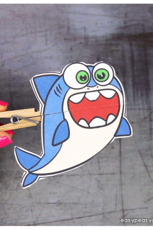 easy clothespin shark craft
