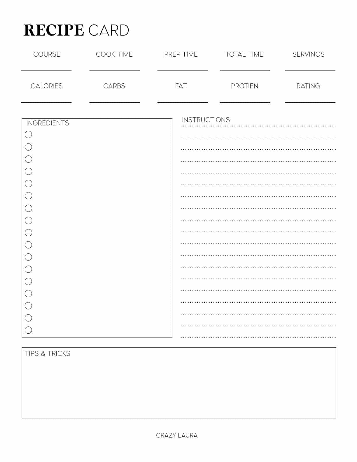 large recipe sheet to print