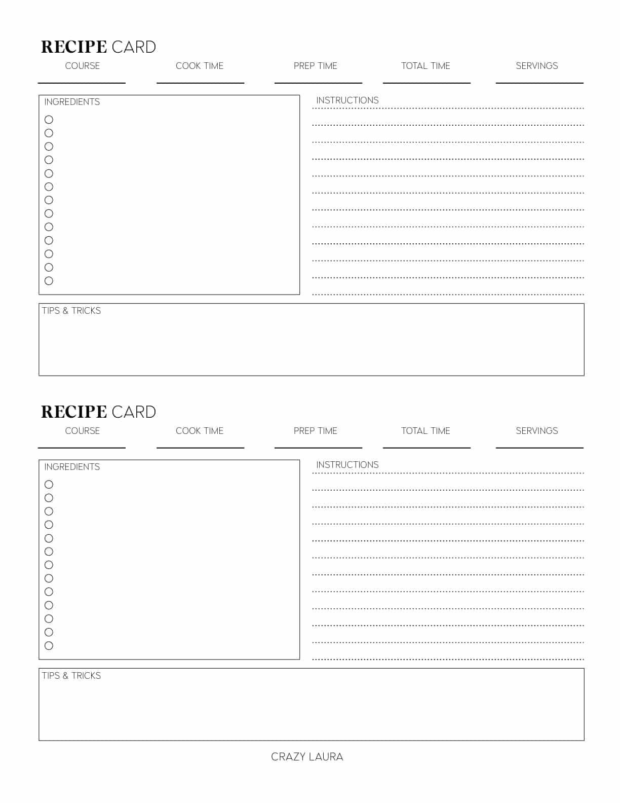 small free recipe cards