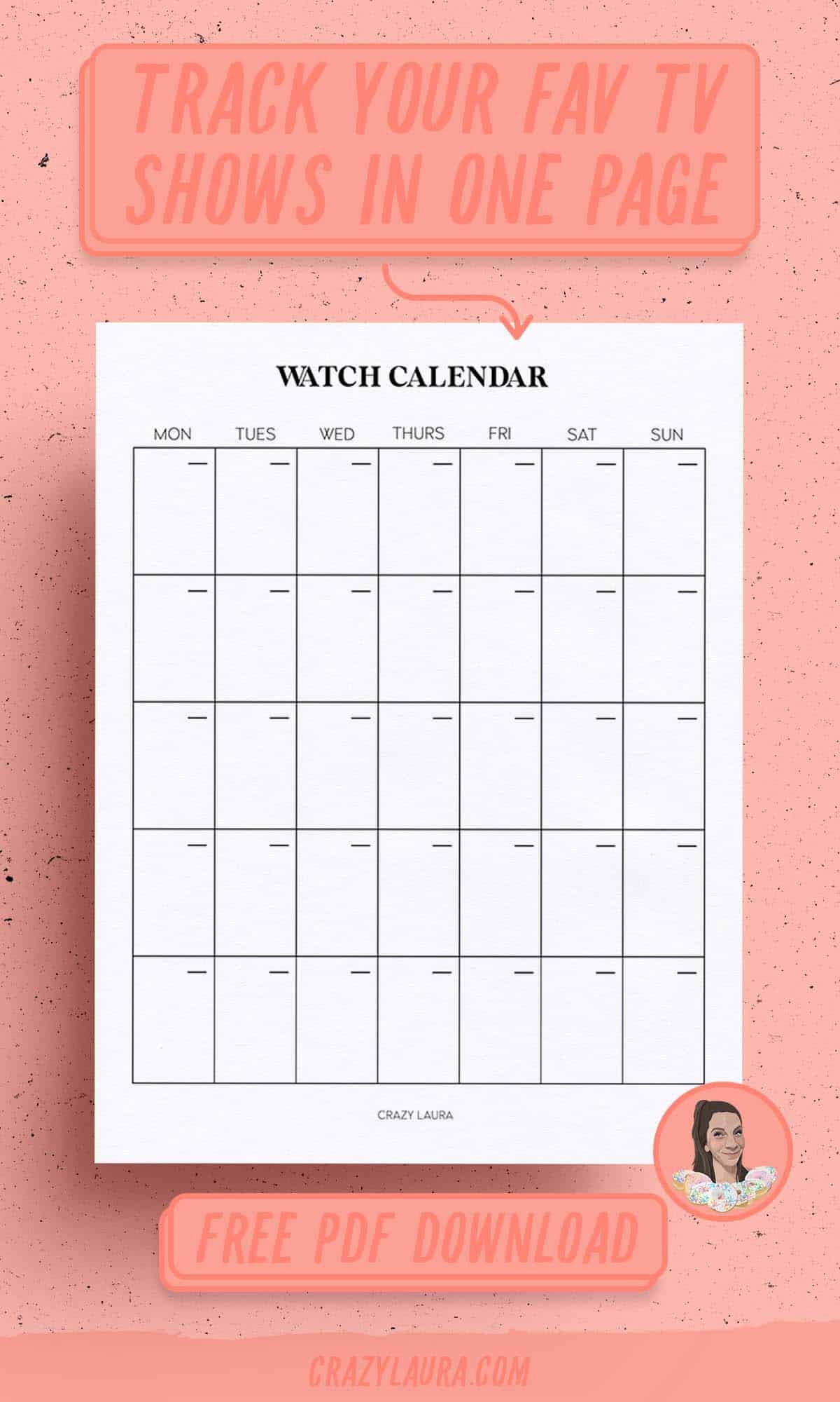 blank movie watch calendar