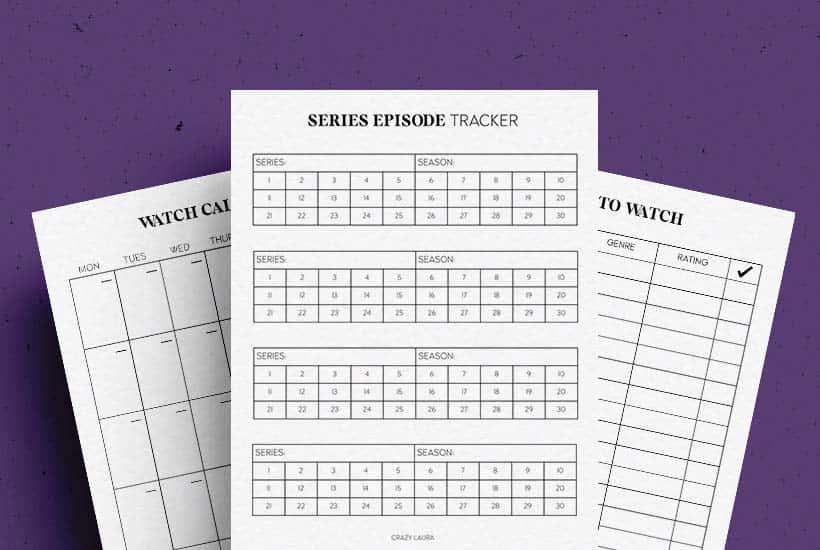 Free TV Series & Movie Tracker Printable PDF Sheets