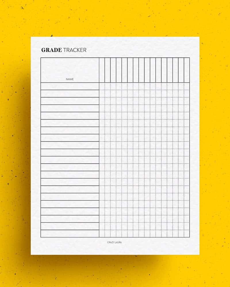 simple grade tracker printable for teachers