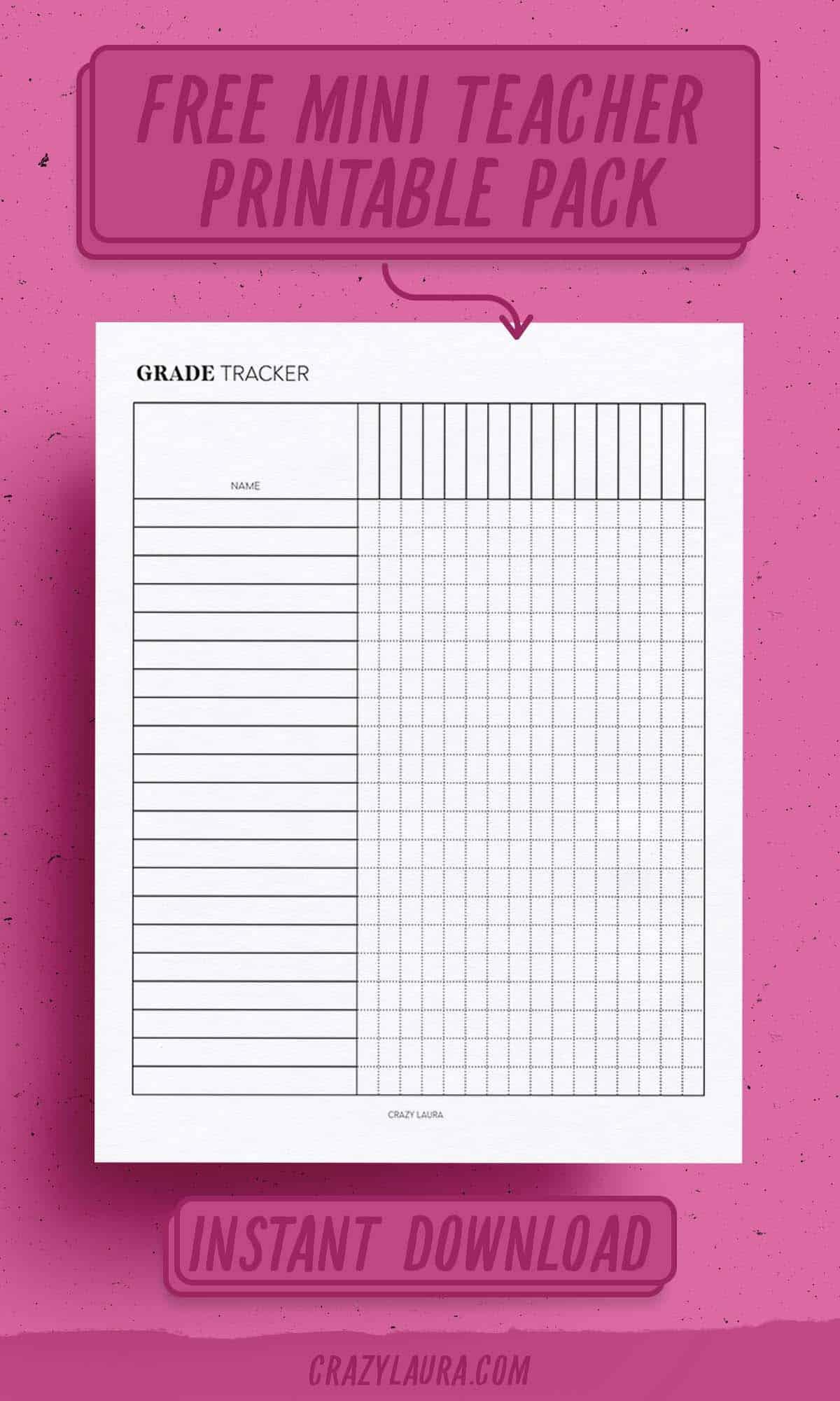 simple printable grade tracker