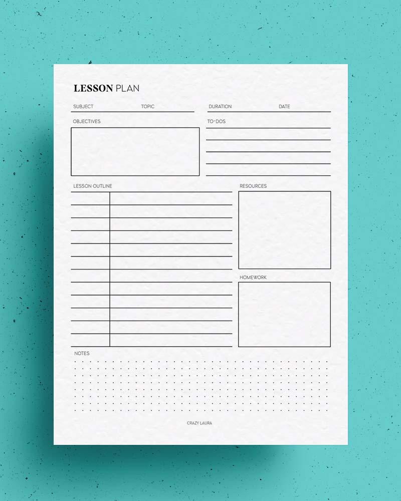 blank lesson plan printable for teachers