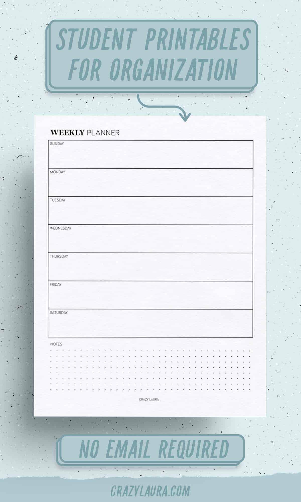 weekly planner organization printable