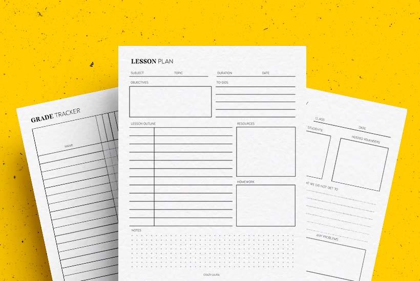 Free Teacher Printables & Trackers Mini PDF Pack