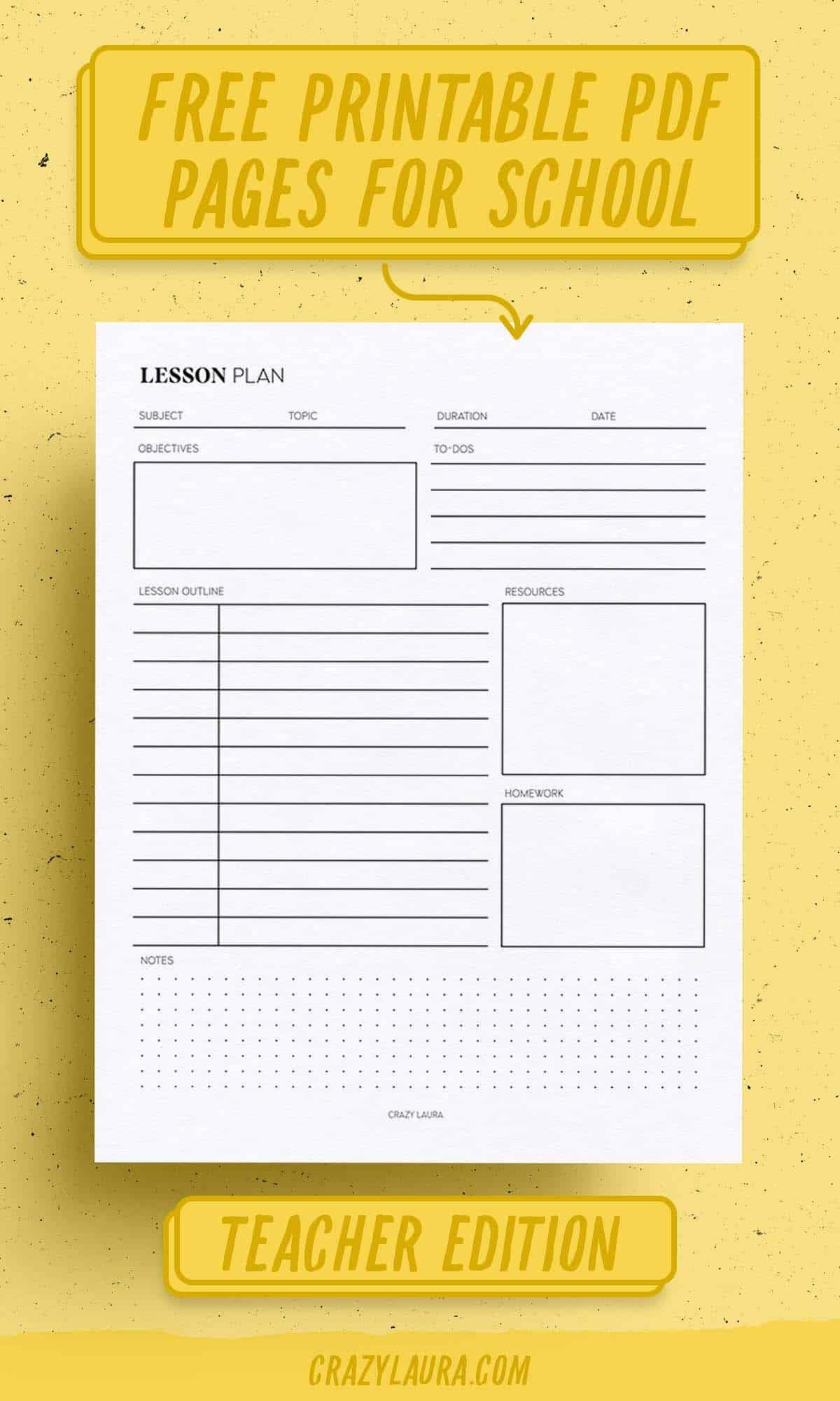 blank lesson plan printable page