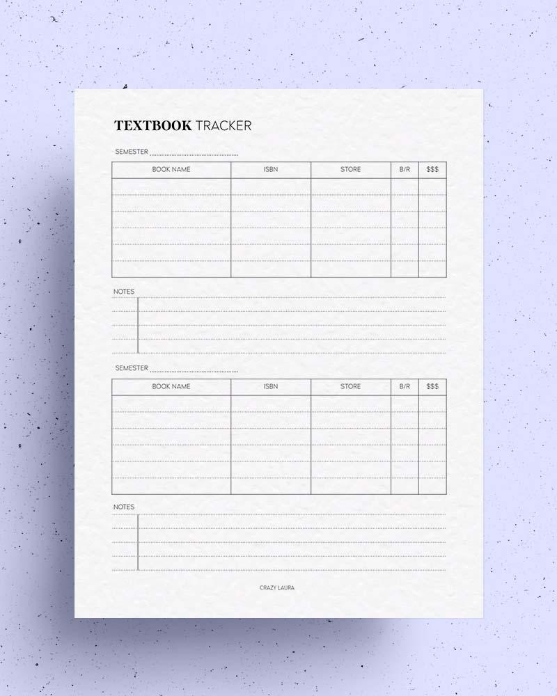 printable textbook tracker