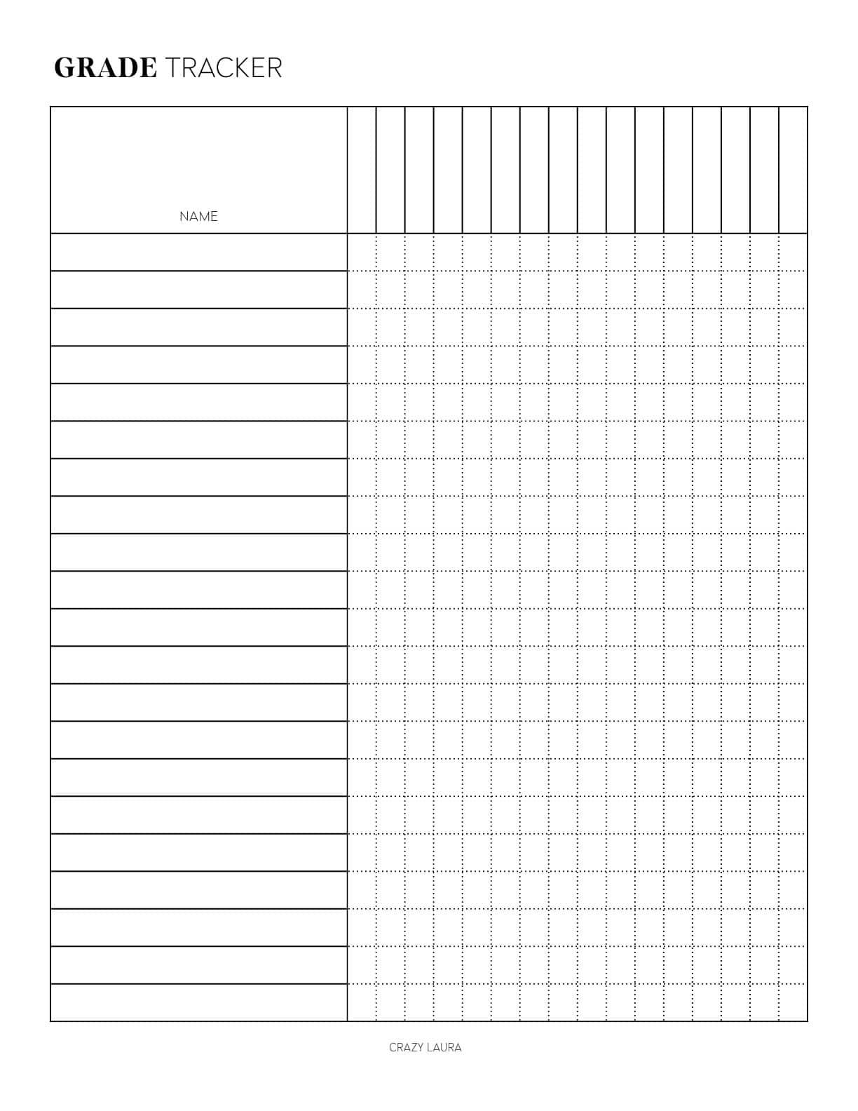 printable grade tracker for free