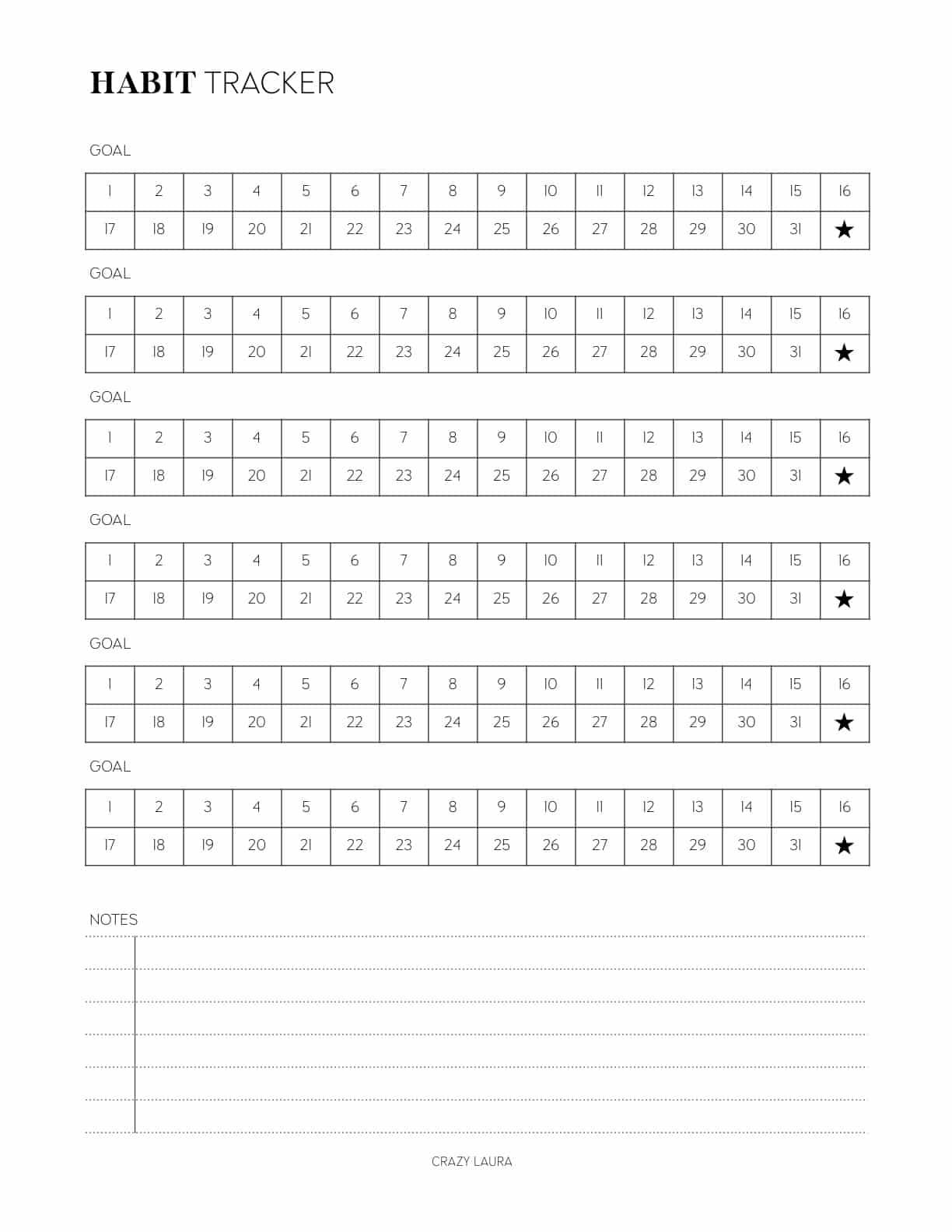 vertical habit tracker pdf