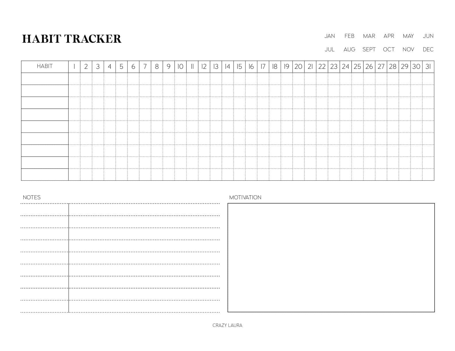 horizontal habit tracker printable