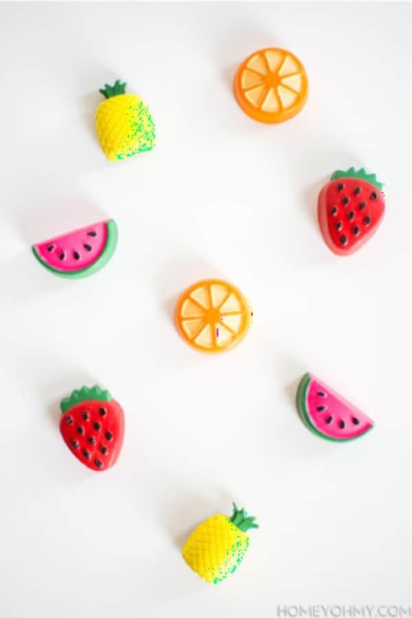 fruit shaped magnetic craft for the fridge