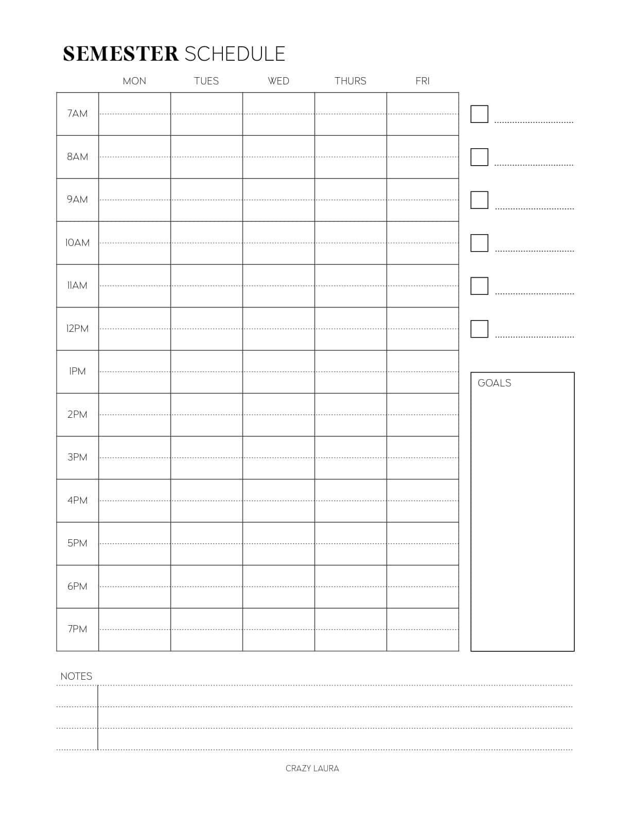 semester schedule page insert