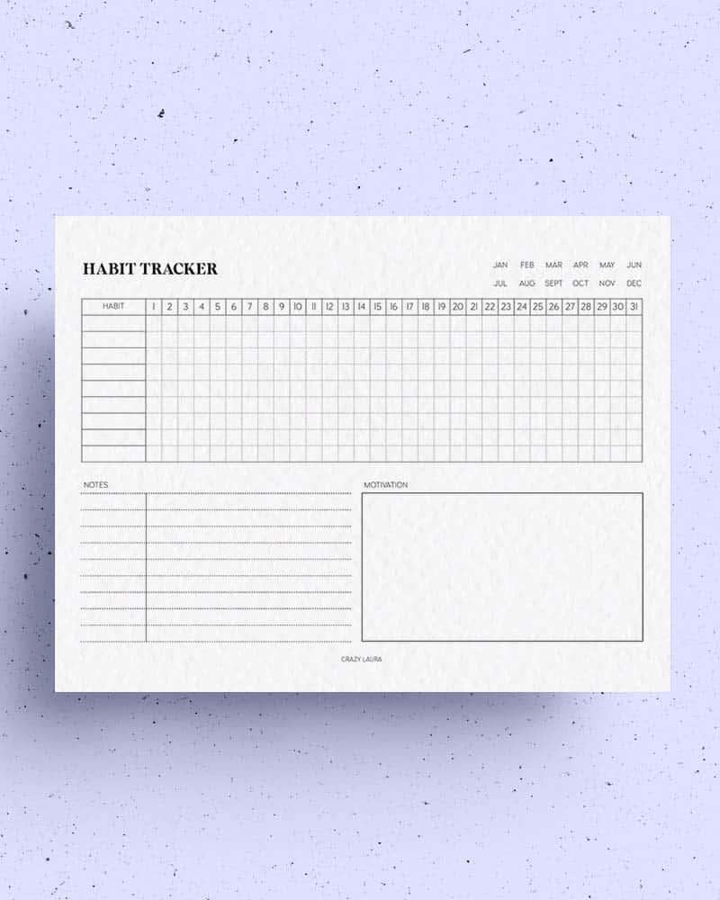 horizontal habit tracker for students