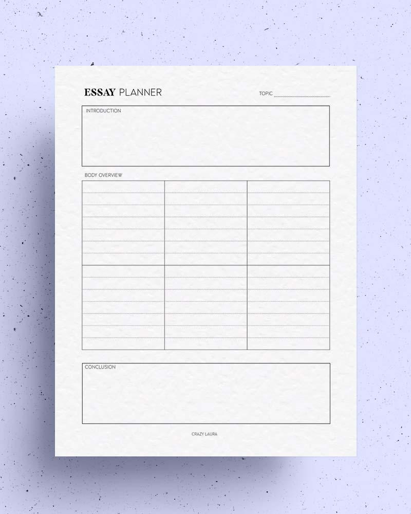 printable essay planner template