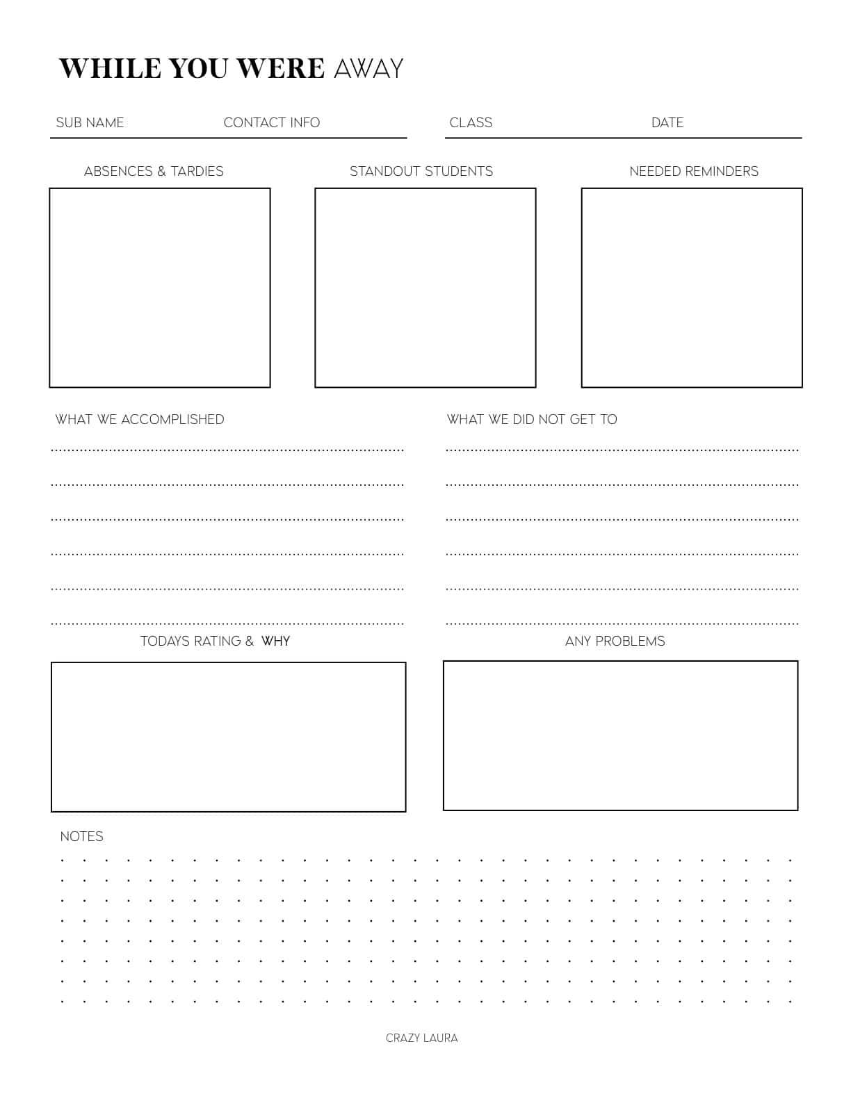 simple sub notes for teachers