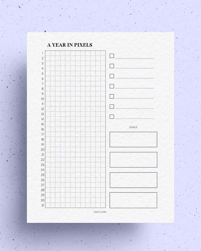 blank year in pixels tracker