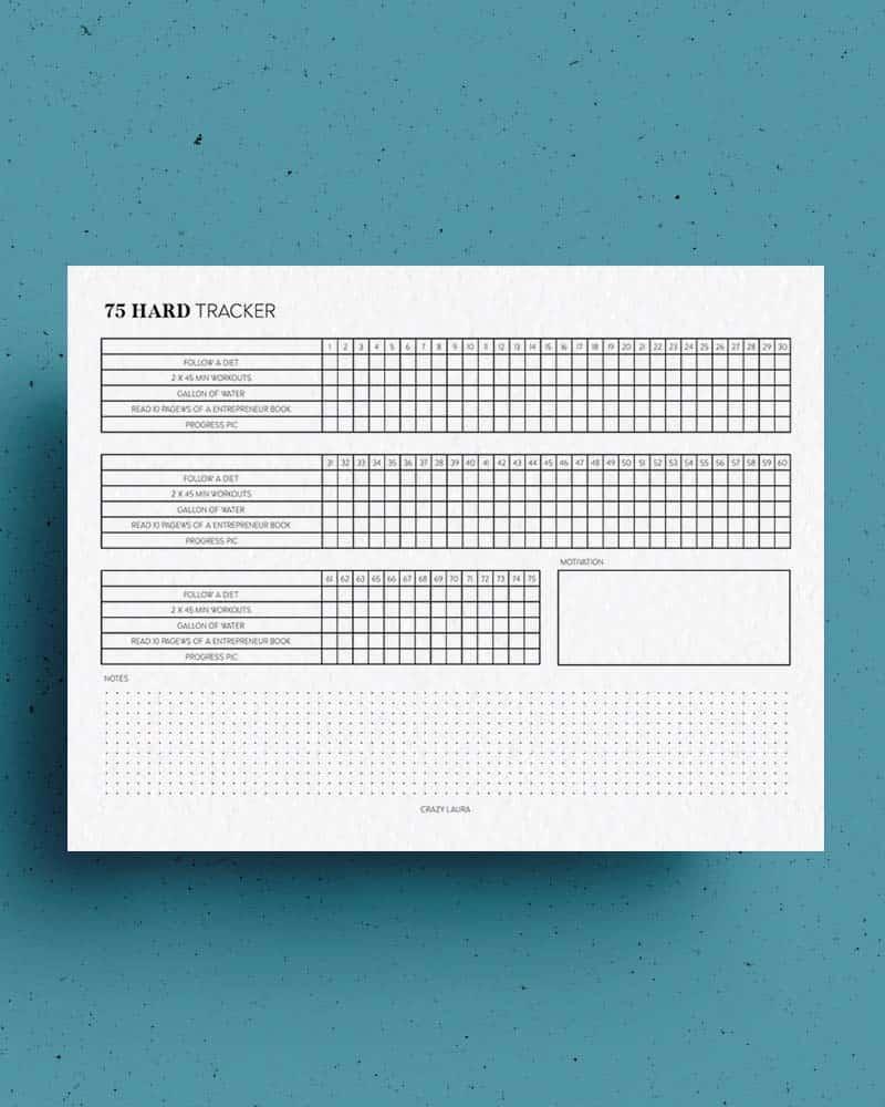 horizontal challenge tracker sheet