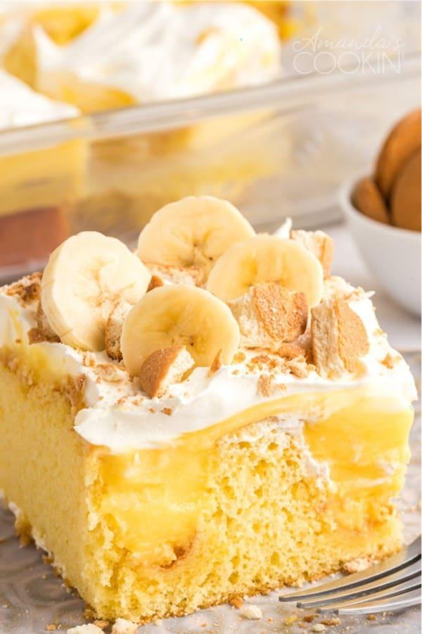 sheet cake with banana pudding poke filling
