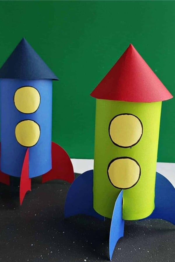 toilet paper rocket craft for children