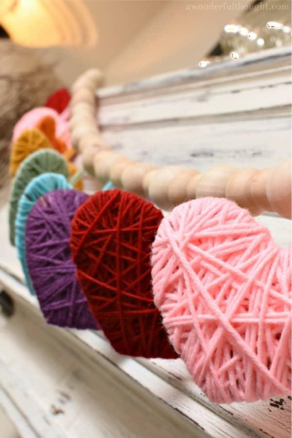 heart shaped yarn garland craft