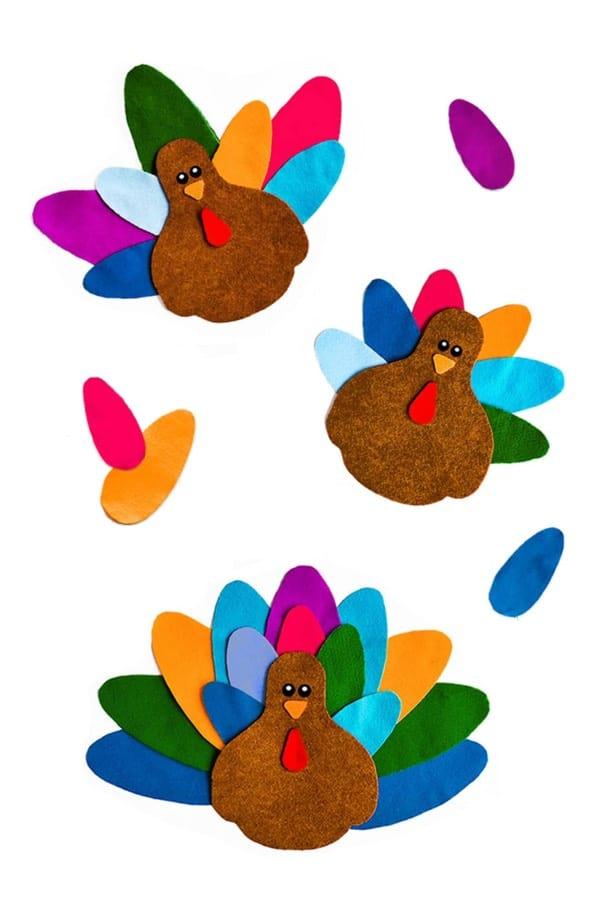 creative turkey craft made with felt