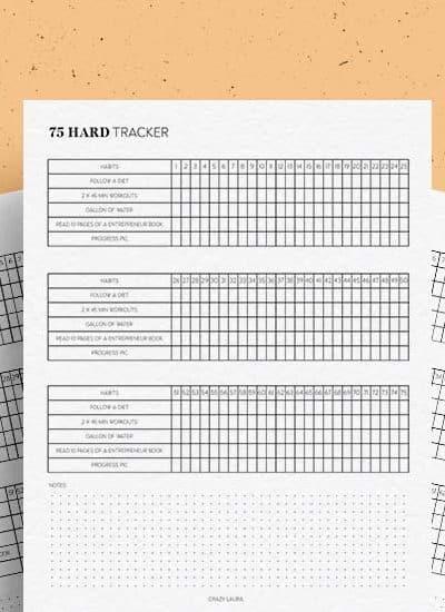 free workout tracker printable