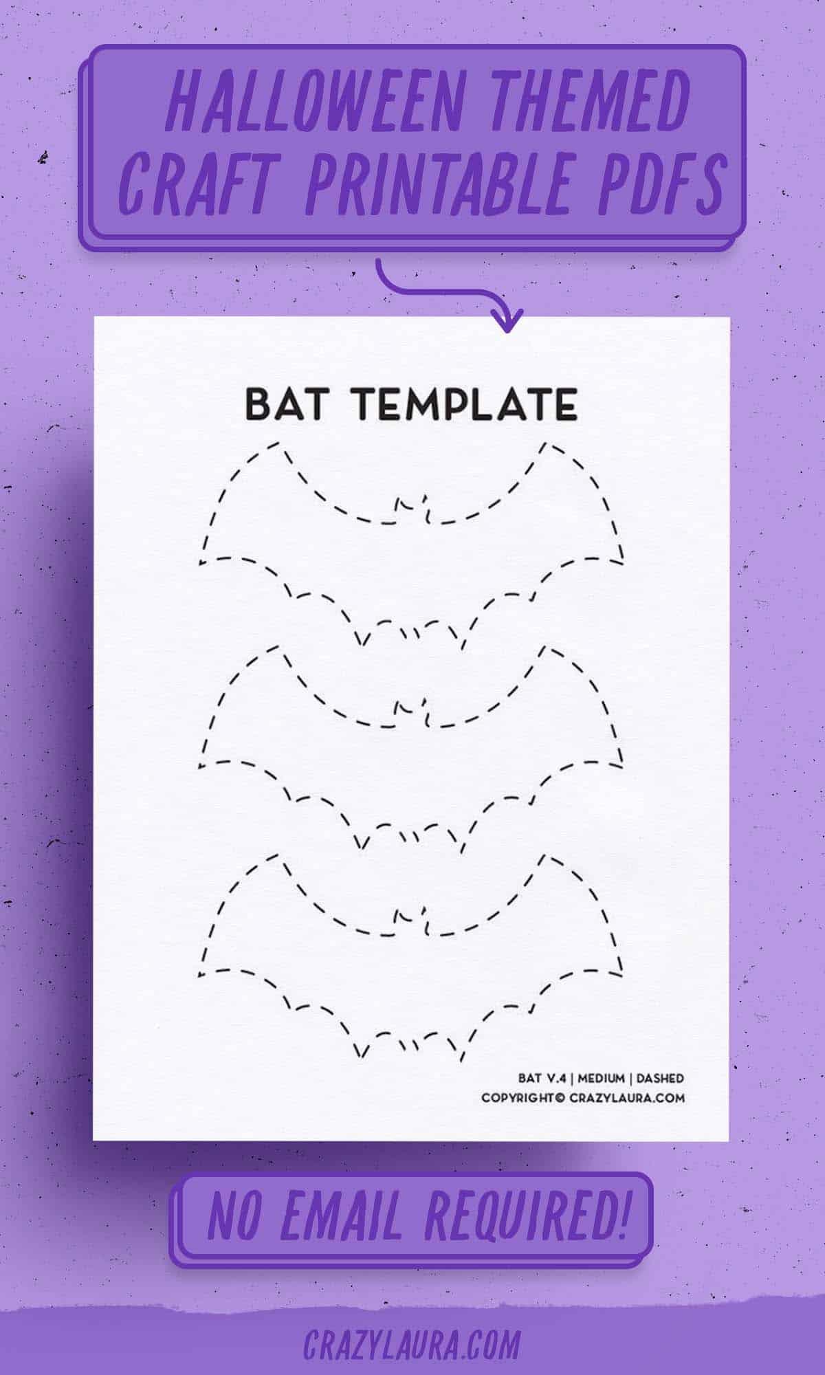pdf sheet to print for halloween bat shape