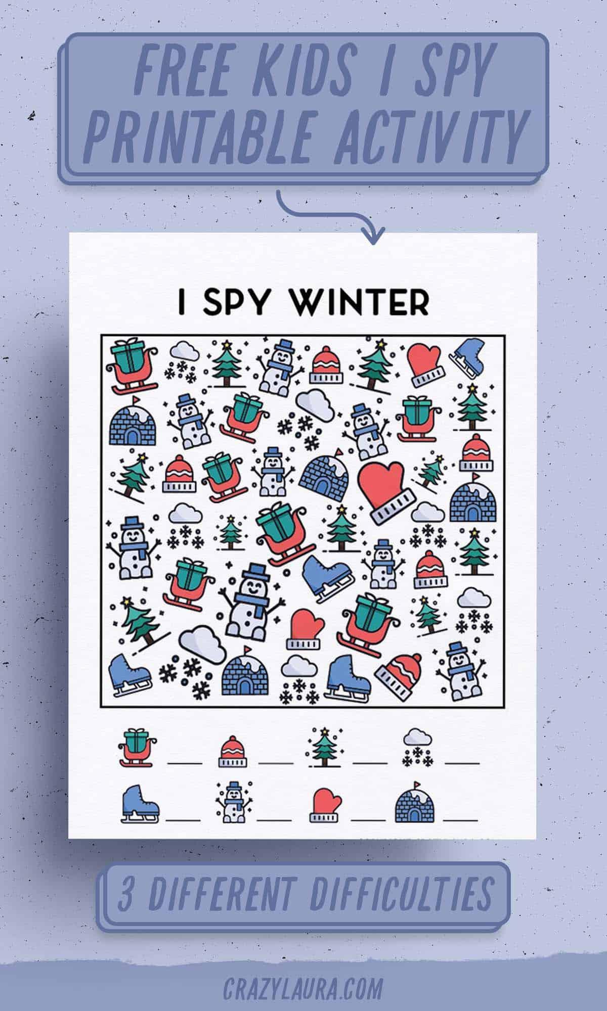 free holiday I spy printables for kids