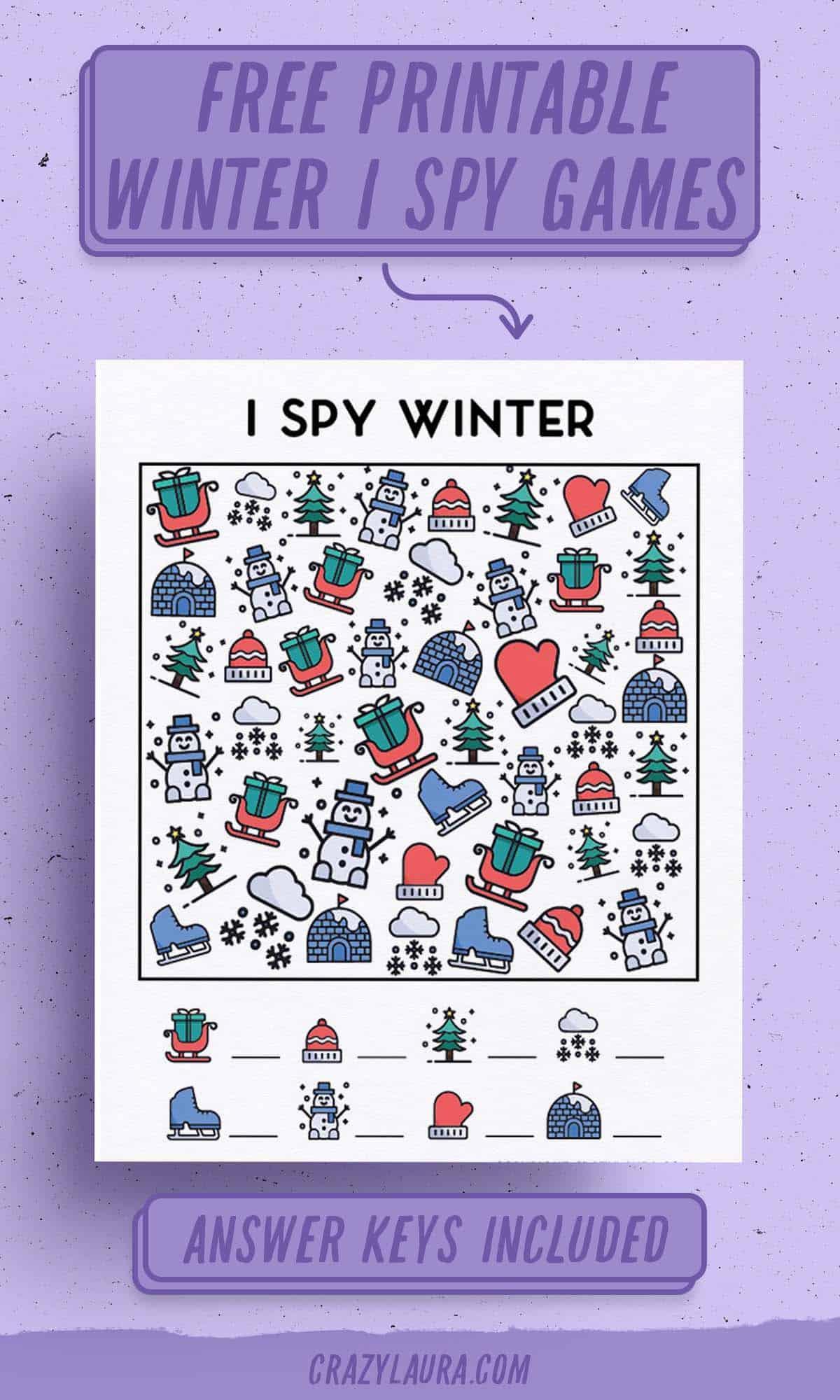 free kids I spy activity for winter