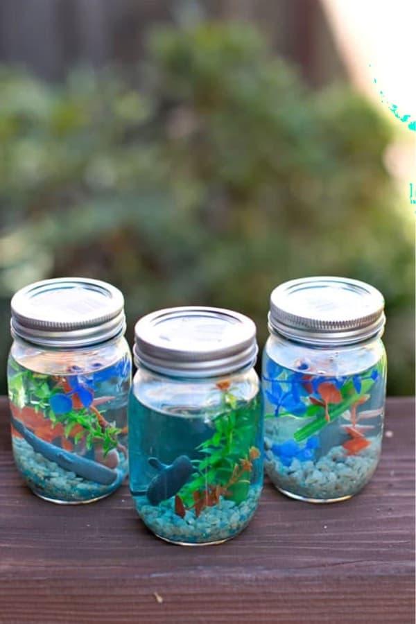 mini mason jar ocean aquarium for kids