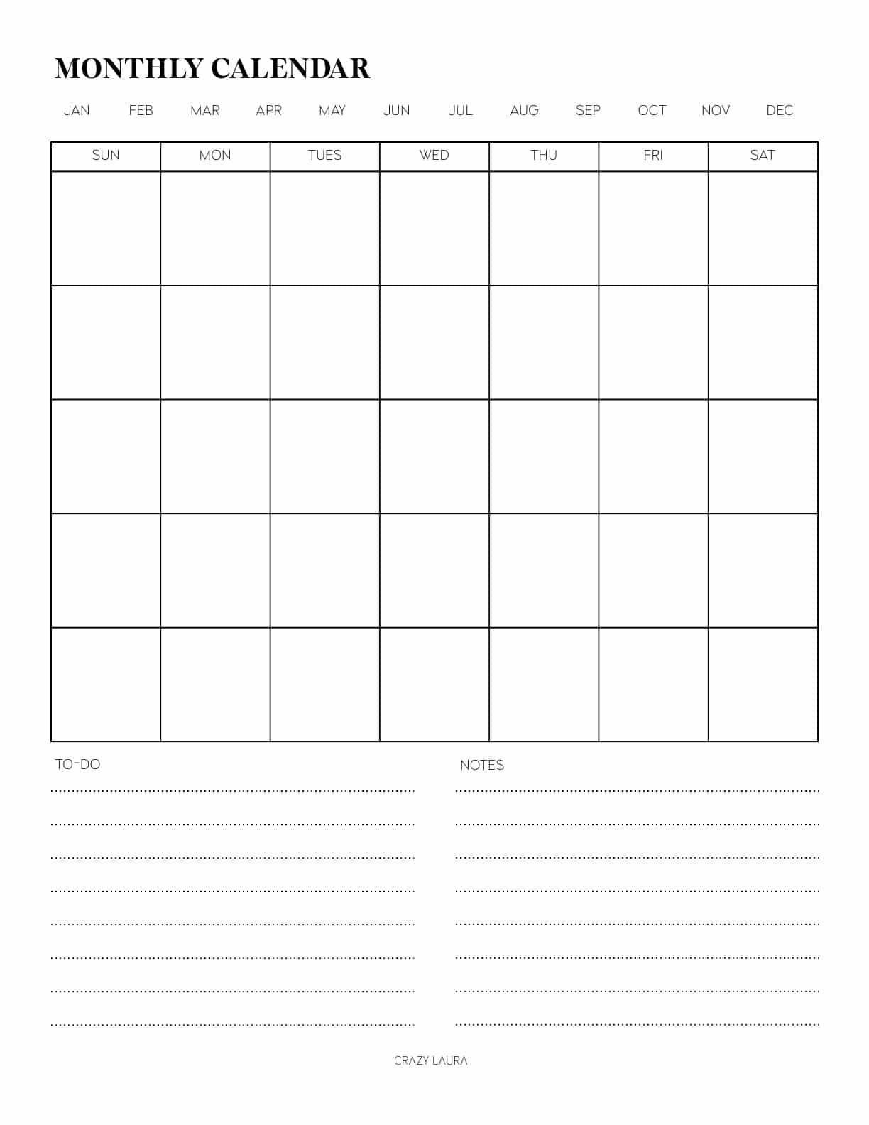 blank monthly calendar sheet