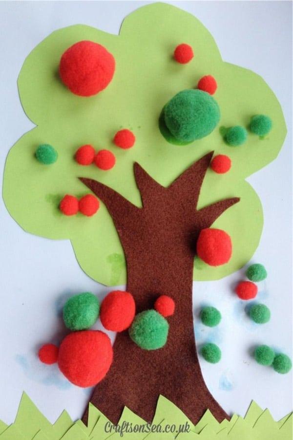 simple to make pom pom craft for preschoolers