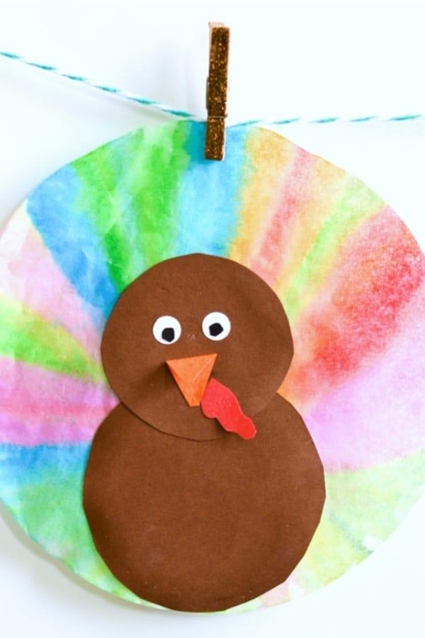 coffee filter turkey craft tutorial for thanksgiving
