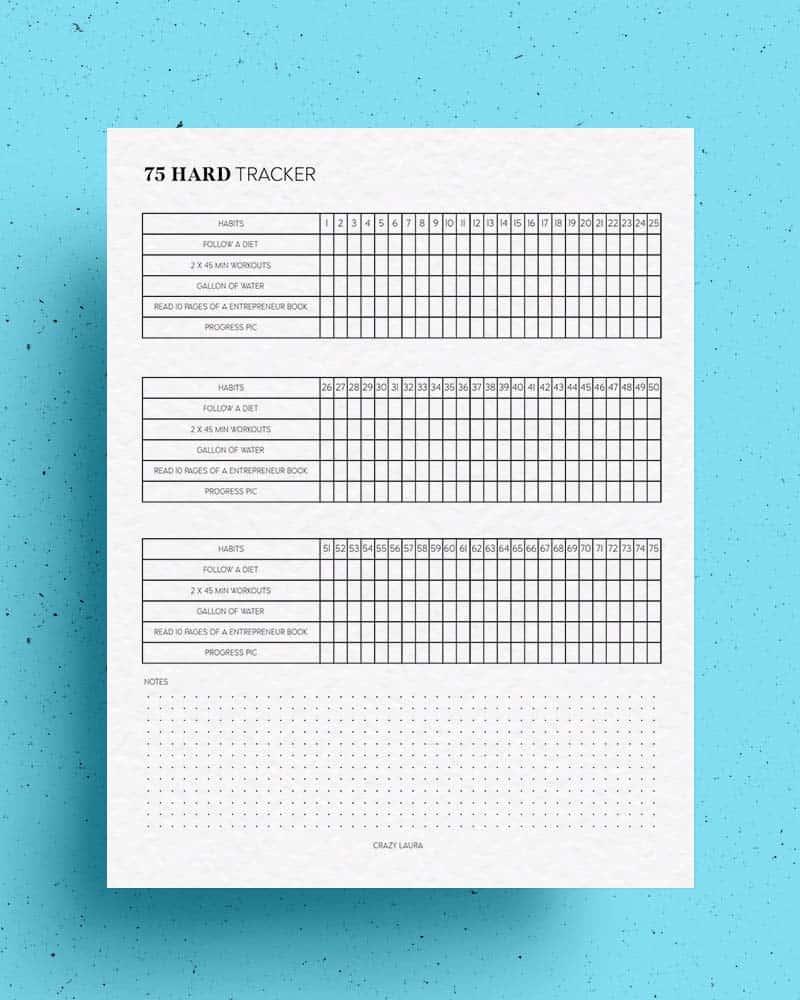 free 75 hard accountability printable
