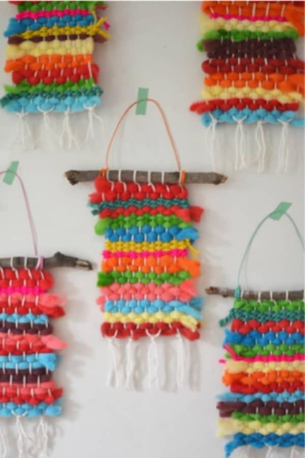 kids craft for yarn weaving